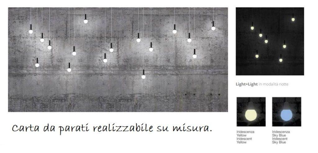 carta da parati luminosa in stile industriale con lampada a sospensione