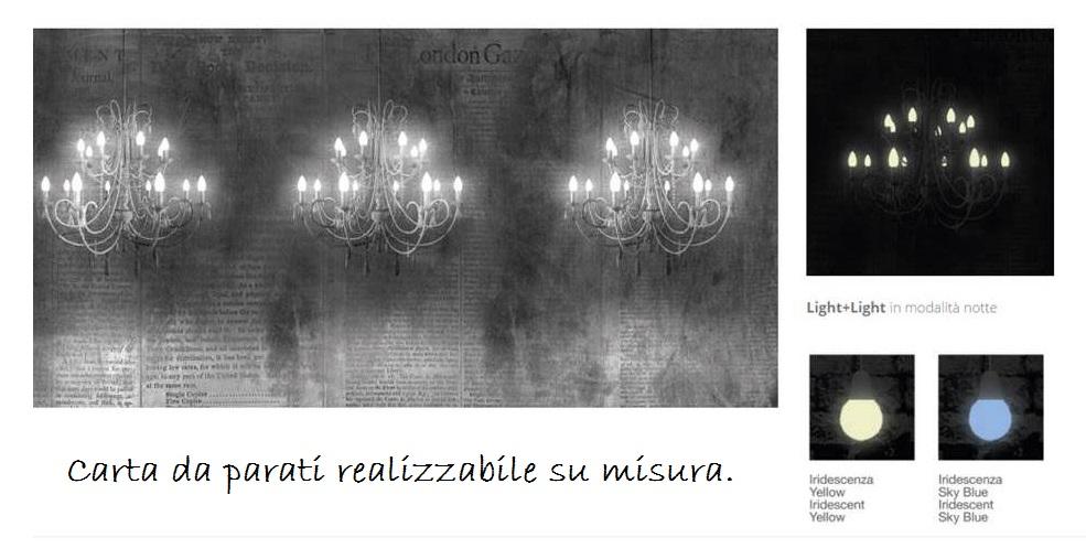 carta da parati luminosa con lampadari con cristalli.