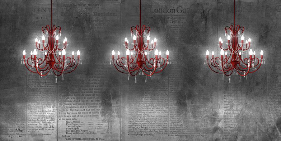 carta da parati con lampadari rossi che s'illumina