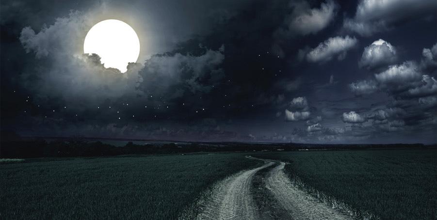 Carta da parati luminosa con prato e luna piena.