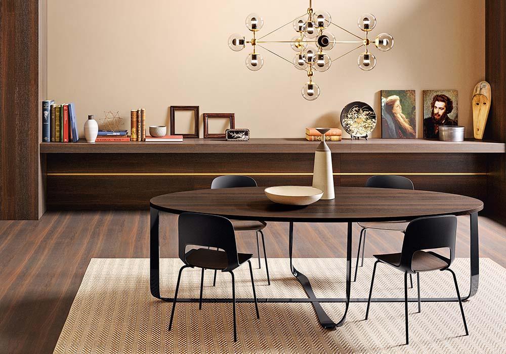 tavolo confluence Pianca con piano in legno e base in metallo
