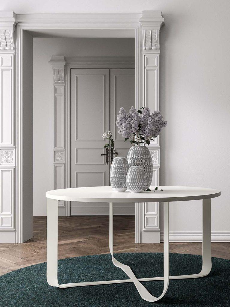 Tavolo Confluece Pianca base bianca e piano bianco lucido