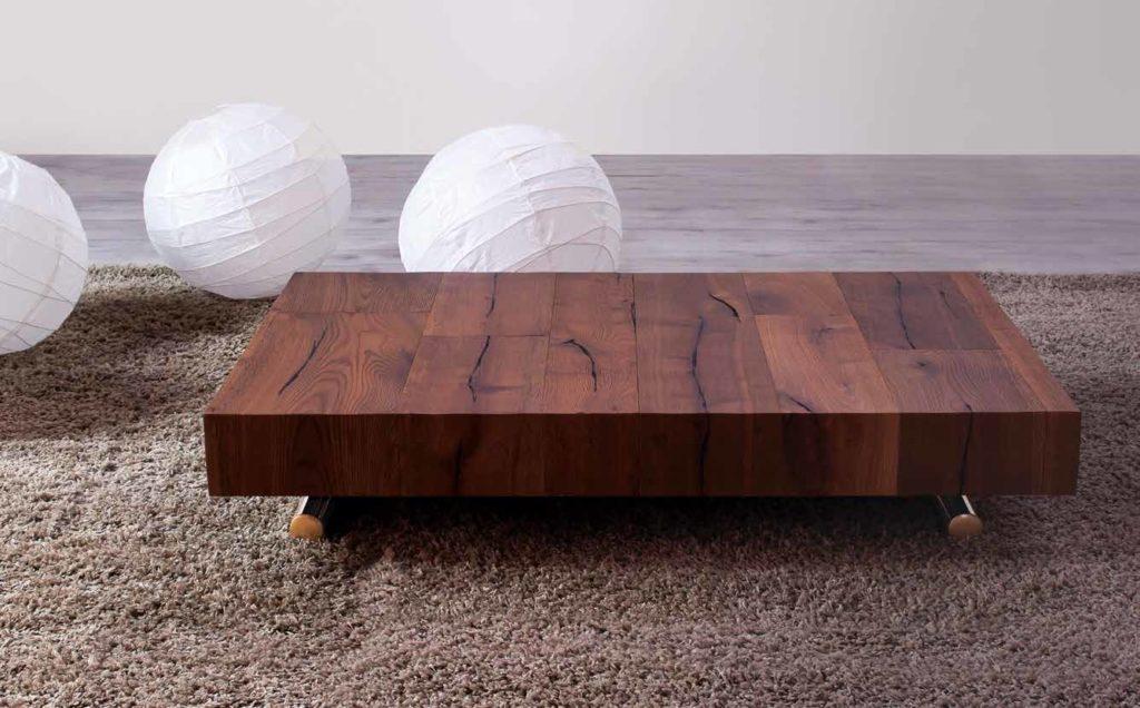 tavolino trasformabile in tavolo da pranzo e piano in legno