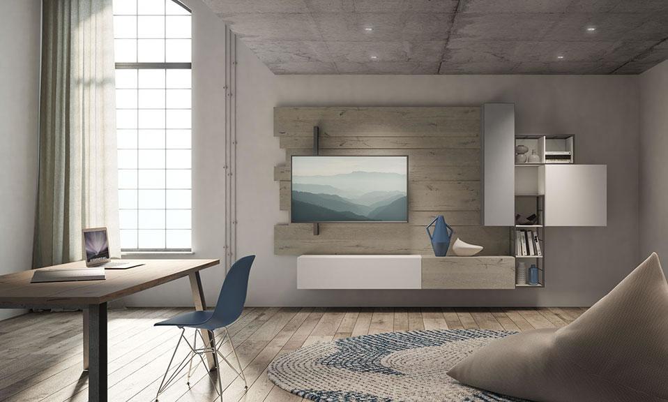soggiorno rebel system con porta tv in stile industriale e vintage