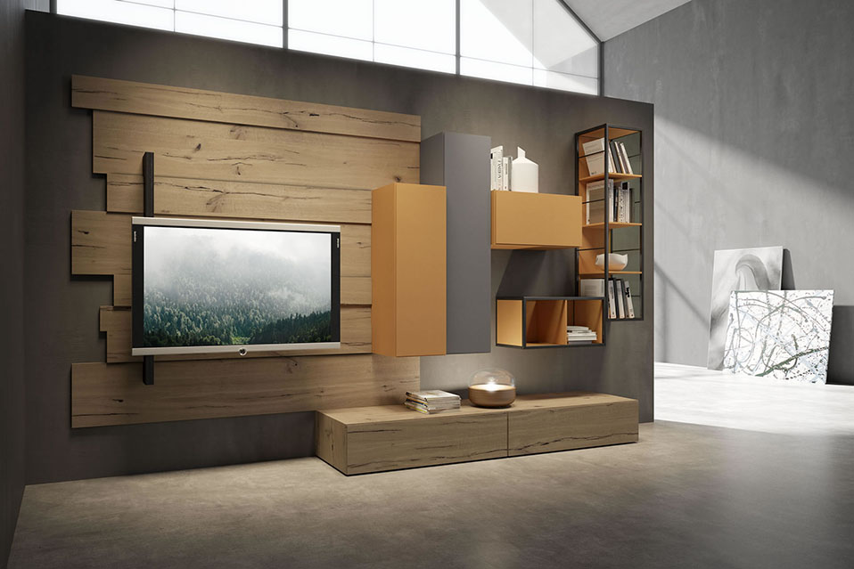soggiorno mdoerno rebel system con porta tv orientabile stile vintage industriale