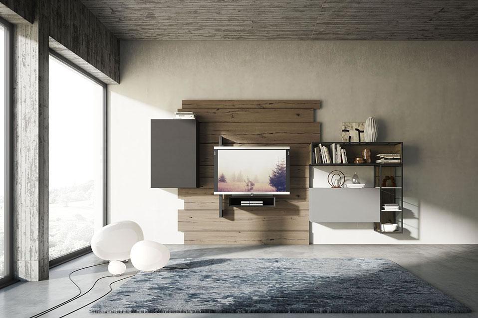 soggiorno rebel system fimar in legno di quercia con porta tv