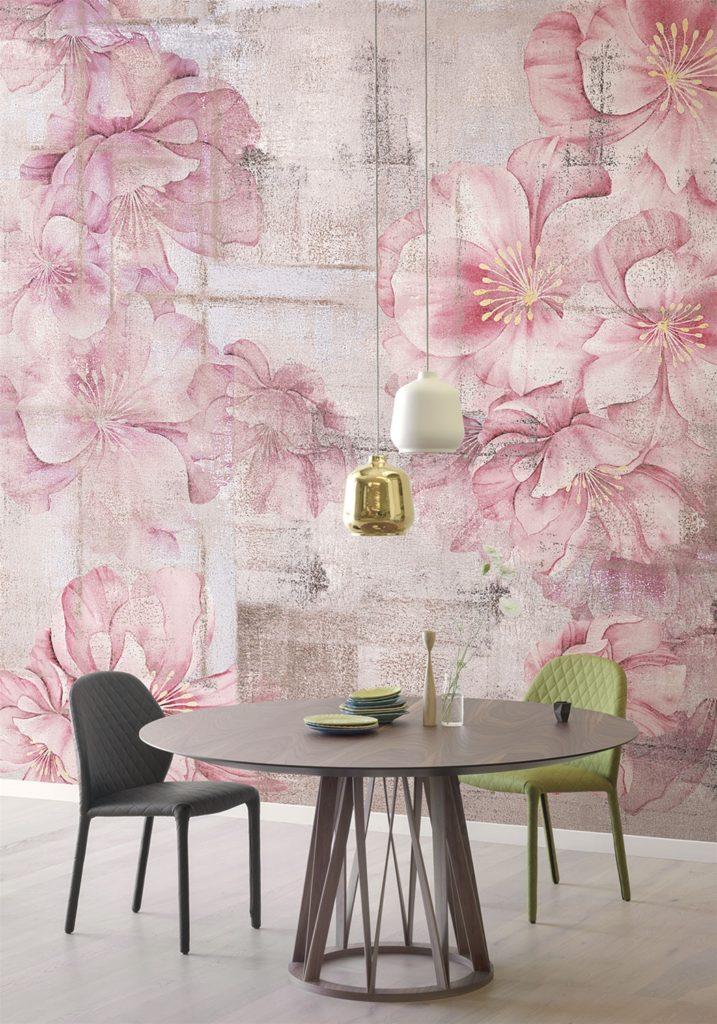 Tappezzeria fiori rosa grandi