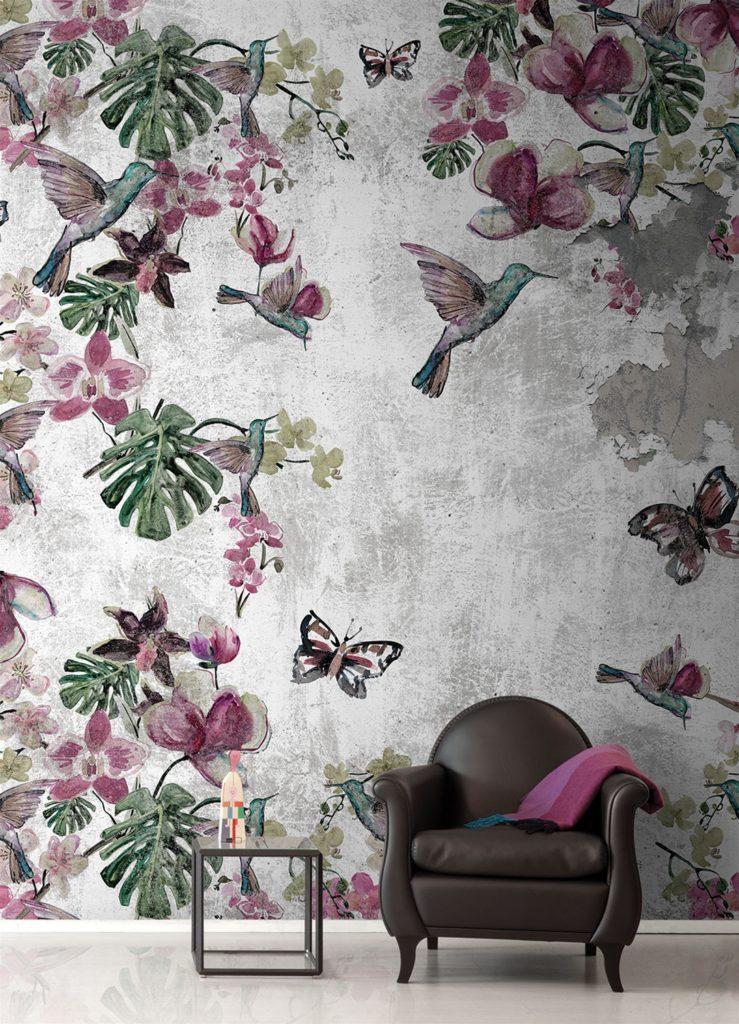 Carta da parati fiori e colibri