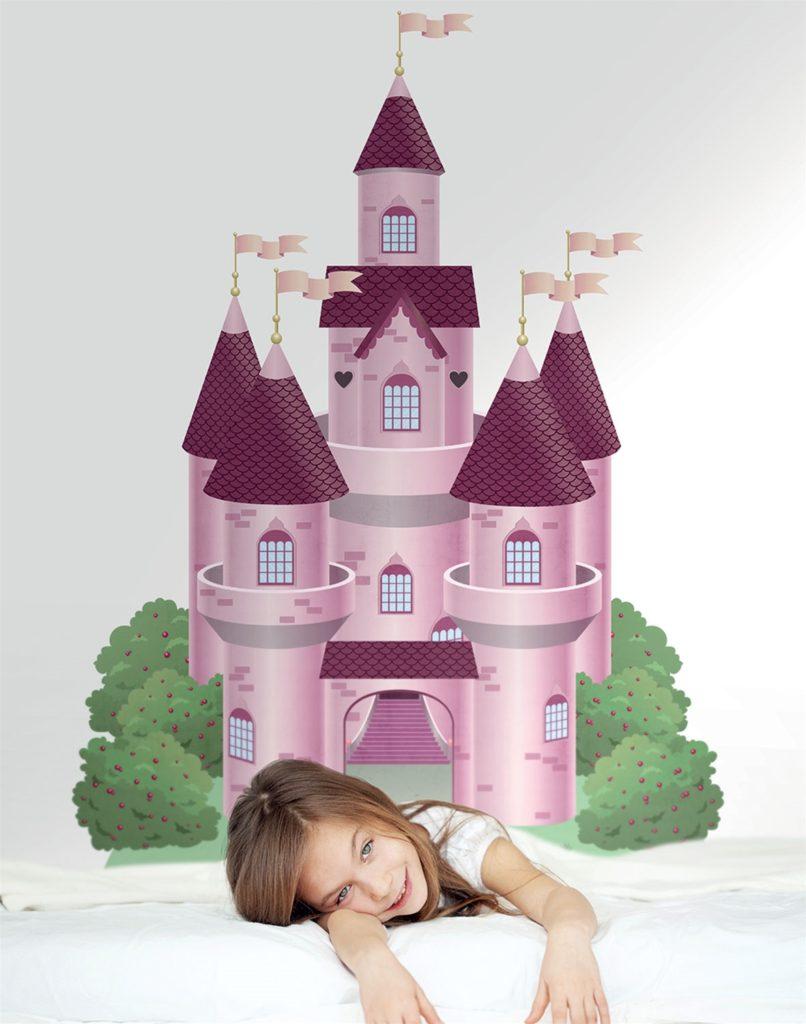 Carta da parati castello rosa