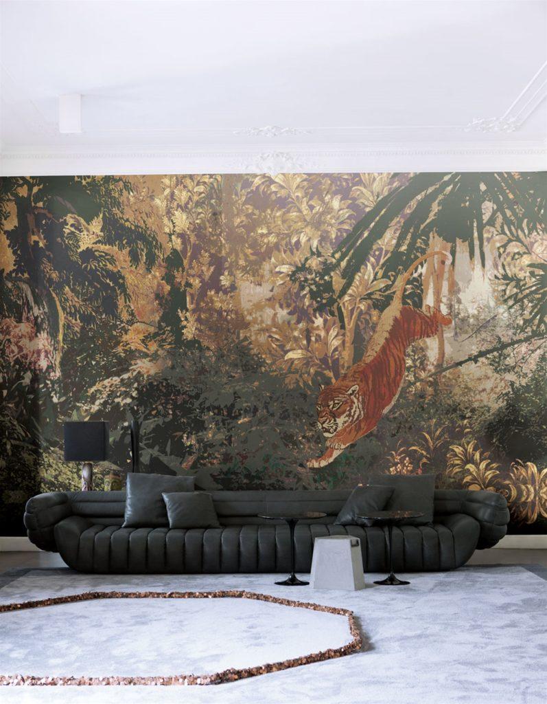 Tappezzeria giungla con tigre