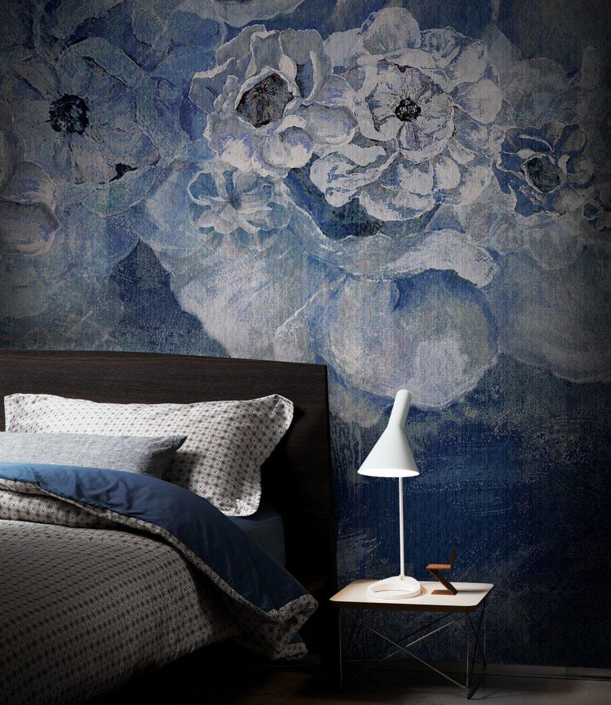 Tappezzeria fiore blu