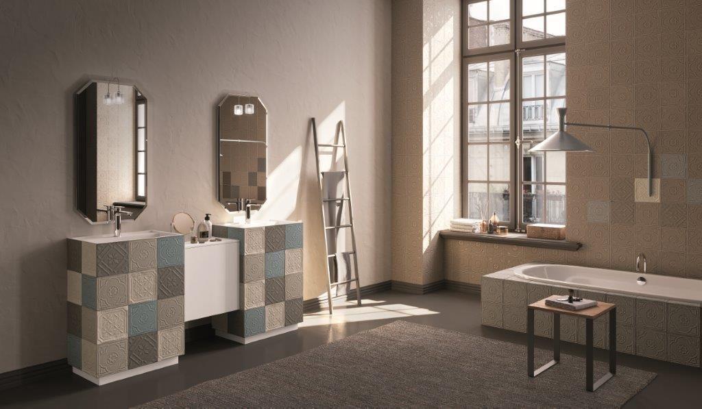 Bagno doppio lavabo con cementine