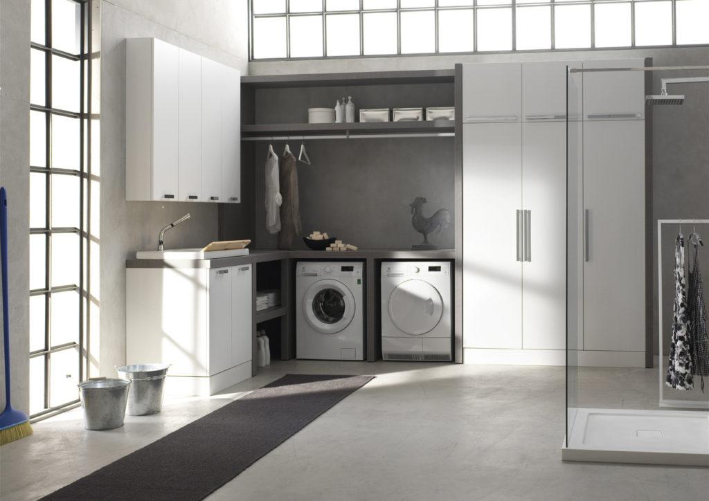 mobile lavanderia angolare con lavatrice e asciugatrice