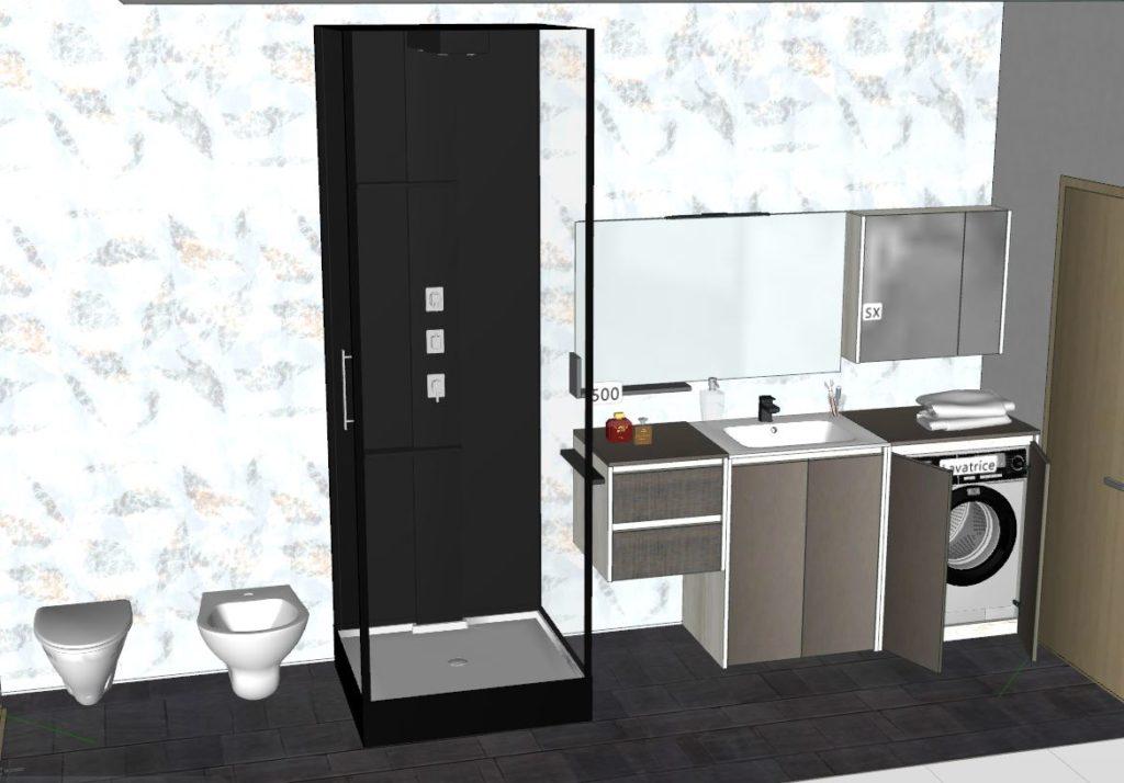 bagno con mobile per lavatrice